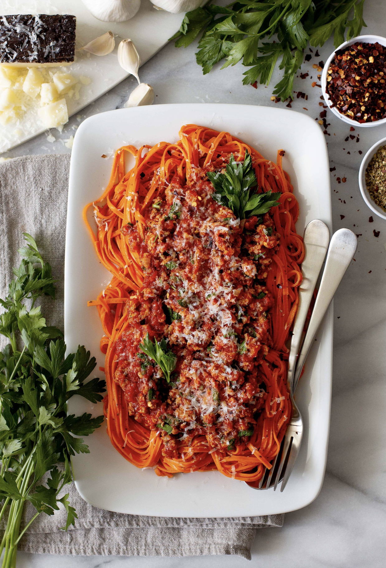 Hot Red Pepper Linguine with Calabrese Meat Sauce