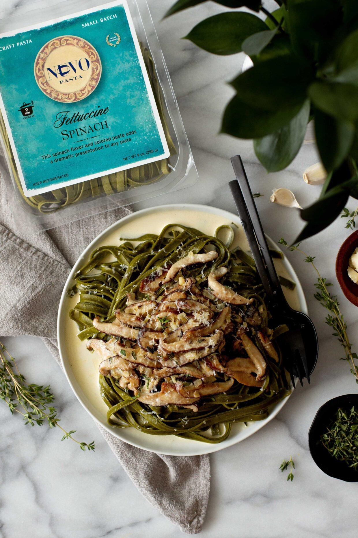 Spinach Fettuccine with Wild Mushroom Cream Sauce