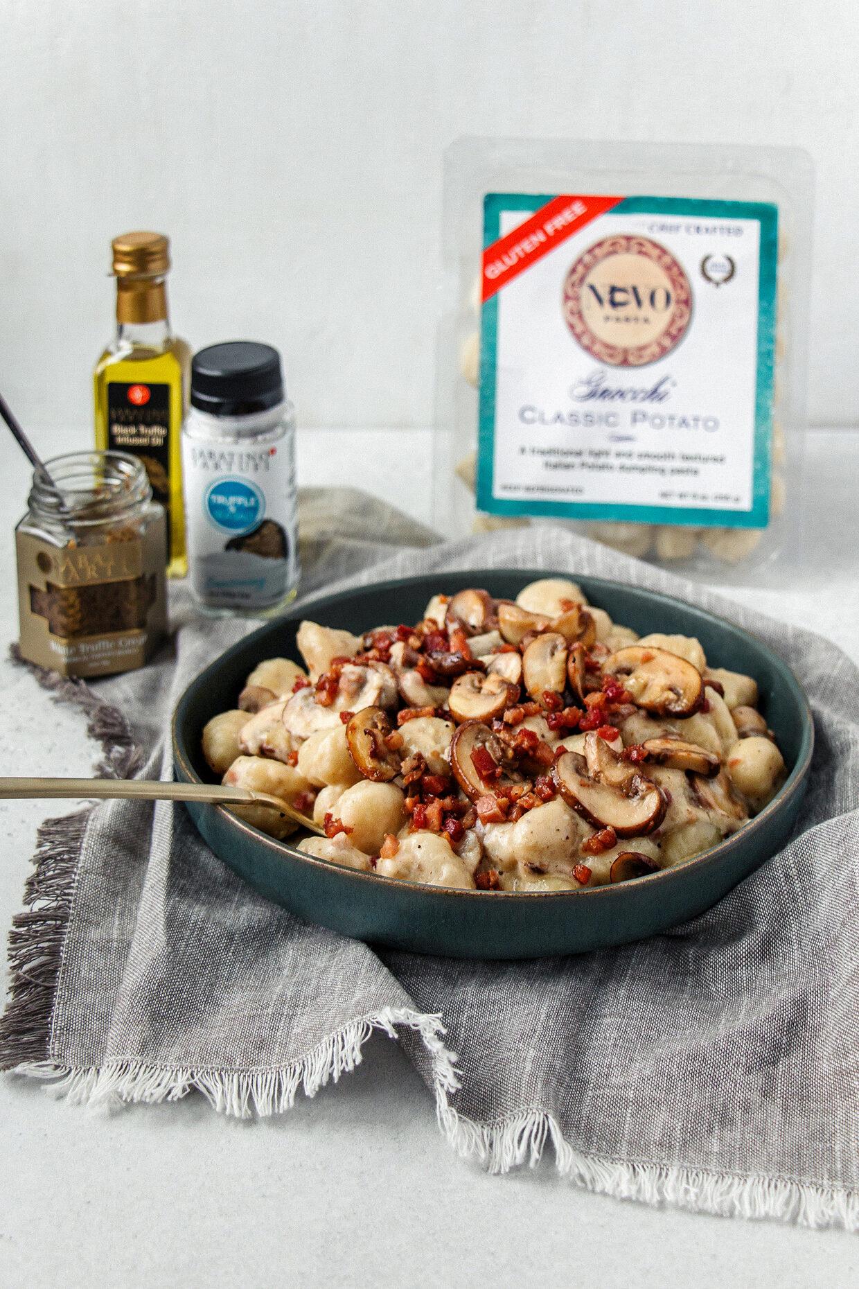 Gnocchi with Creamy Mushroom Pancetta Truffle Sauce