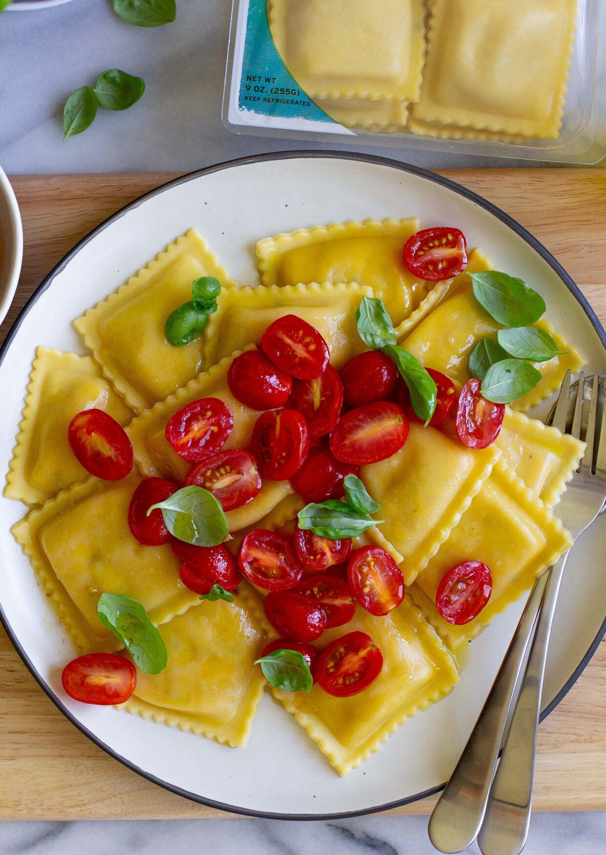 Fresh Mozzarella and Tomato Caprese Ravioli with Cherry Tomatoes, Olive Oil & Basil
