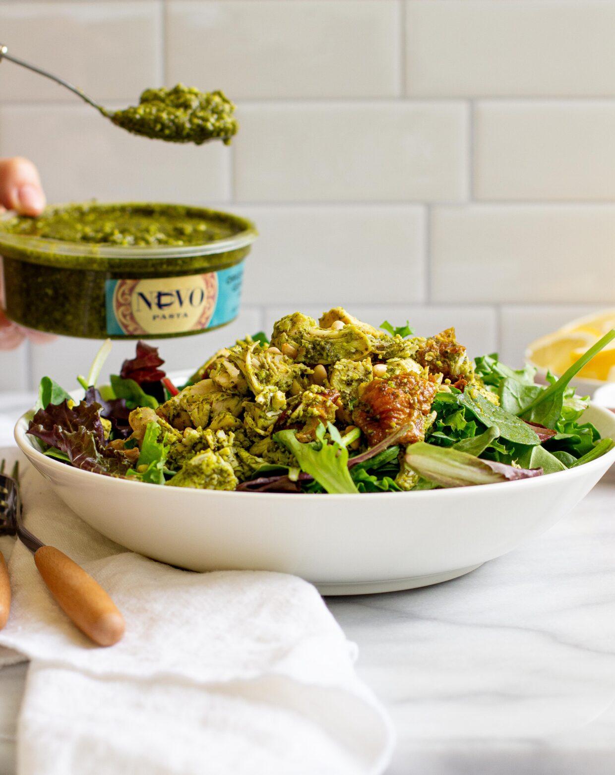 Salad Greens with Chicken Pesto